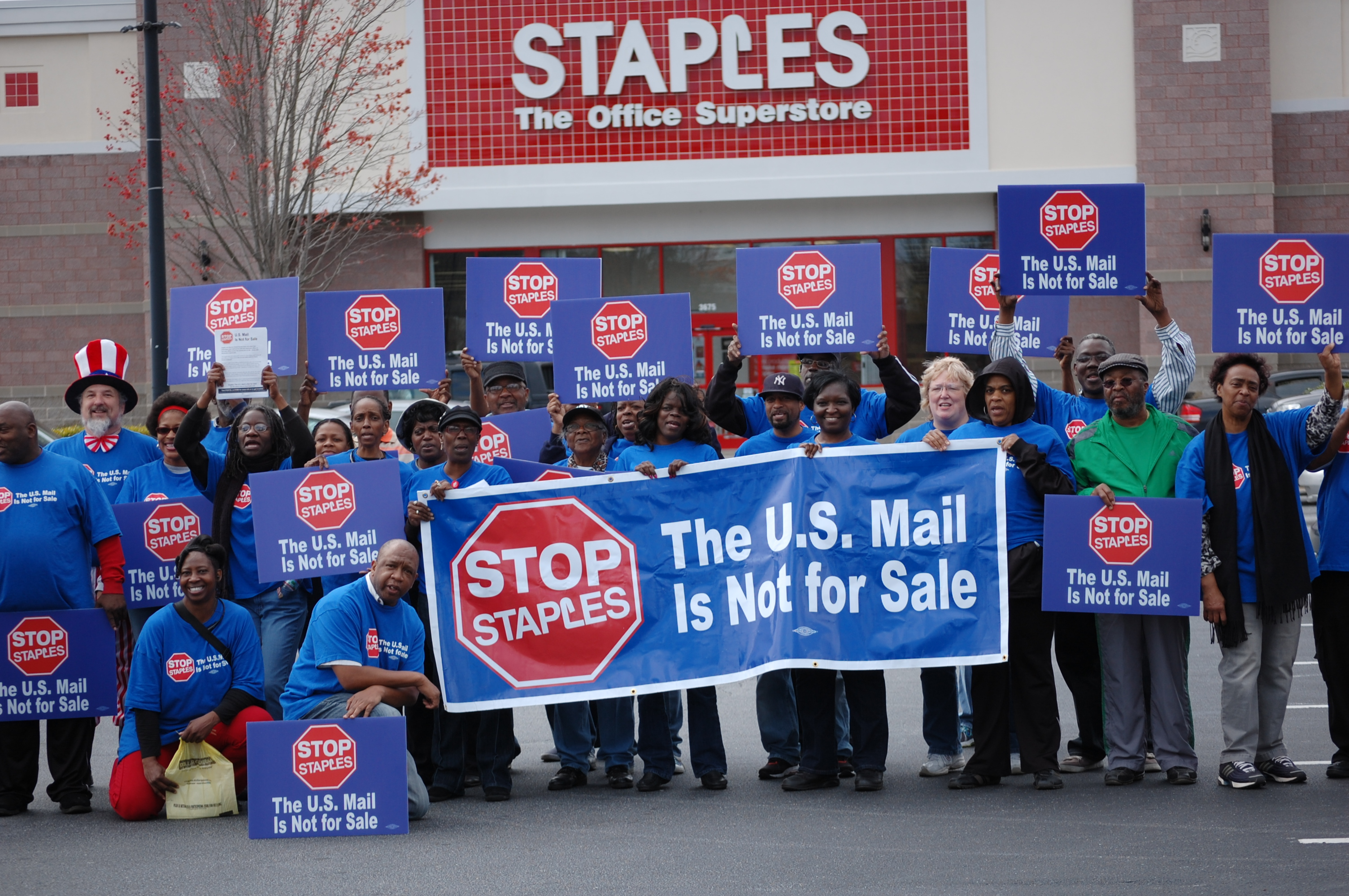 Protesters outside an Atlanta Staples