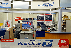 The postal unit at the Staples store in Westborough MA. (Photo courtesy of Evan Kalish, Going Postal)