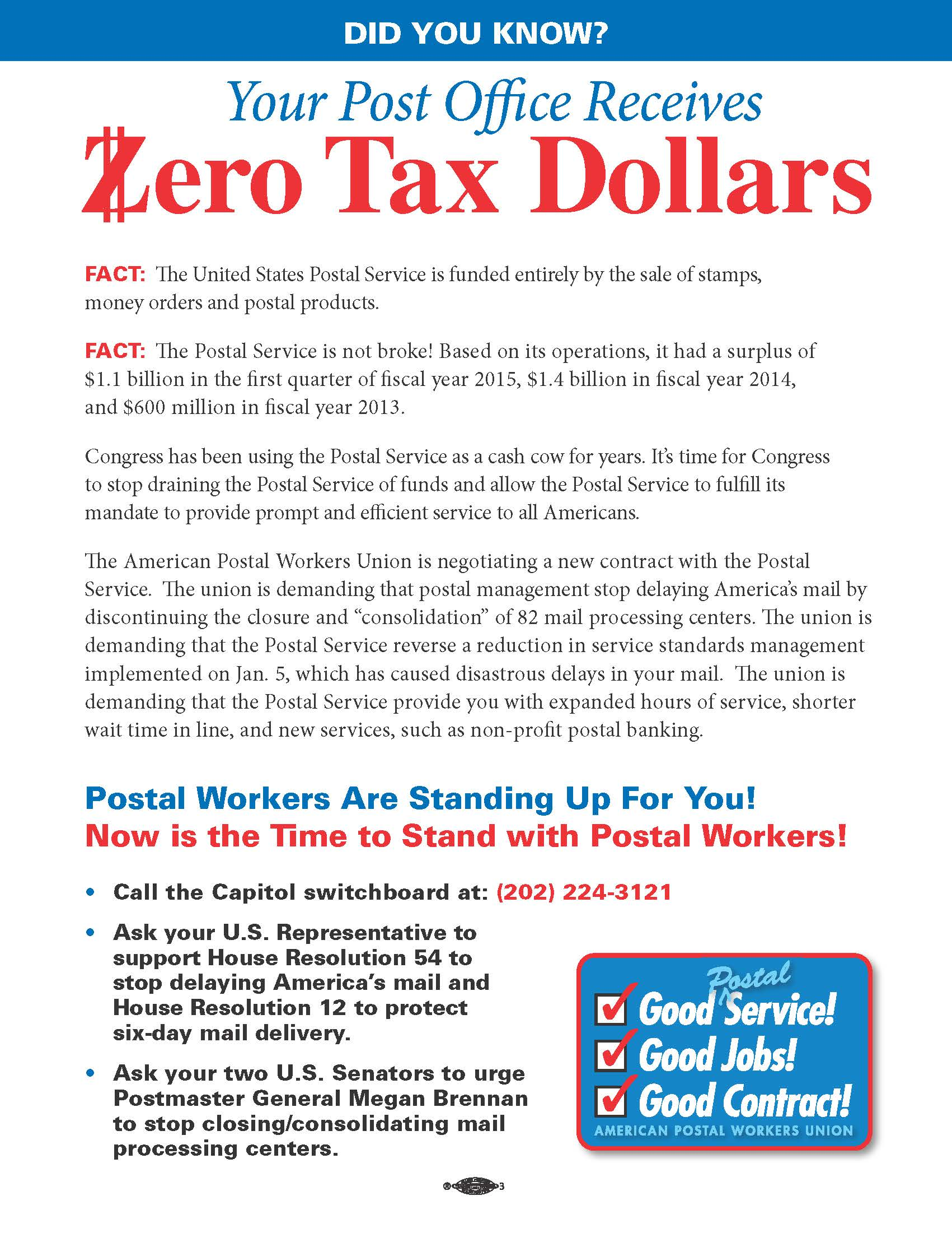 APWU: Your Post Office Gets Zero Tax Dollars