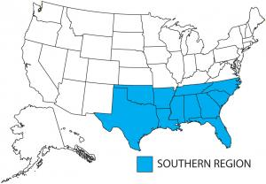APWU American Postal Workers Union AFLCIO - Map of the southern region of the us
